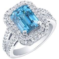 8.65 Carat Blue Zircon Diamond Engagement Ring