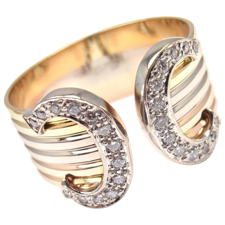 Cartier Double C Diamond Tricolor Gold Band Ring For Sale