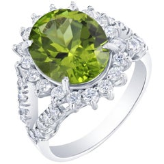 5.46 Carat Peridot Diamond Ring