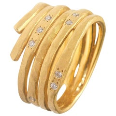 Brushed Gold Ring with Diamonds