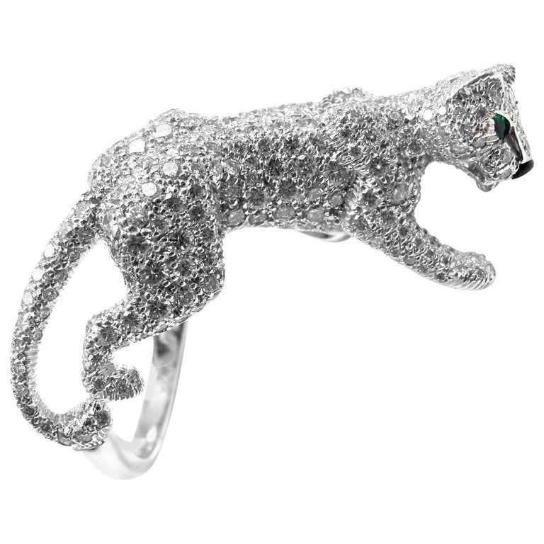 Cartier Panther Panthere Pave Diamond Emerald Onyx White Gold Ring