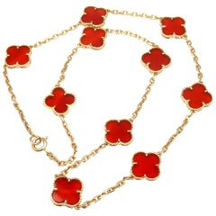 Van Cleef & Arpels Vintage Alhambra Carnelian Ten Motif Yellow Gold Necklace