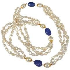 Decadent Jewels South Sea Pearl Baroque Keshi Pearl Tanzanite Gold Long Necklace