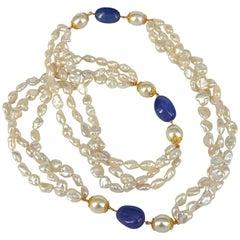 Decadent Jewels South Sea Pearl Keshi Pearl Tanzanite Gold Long Necklace