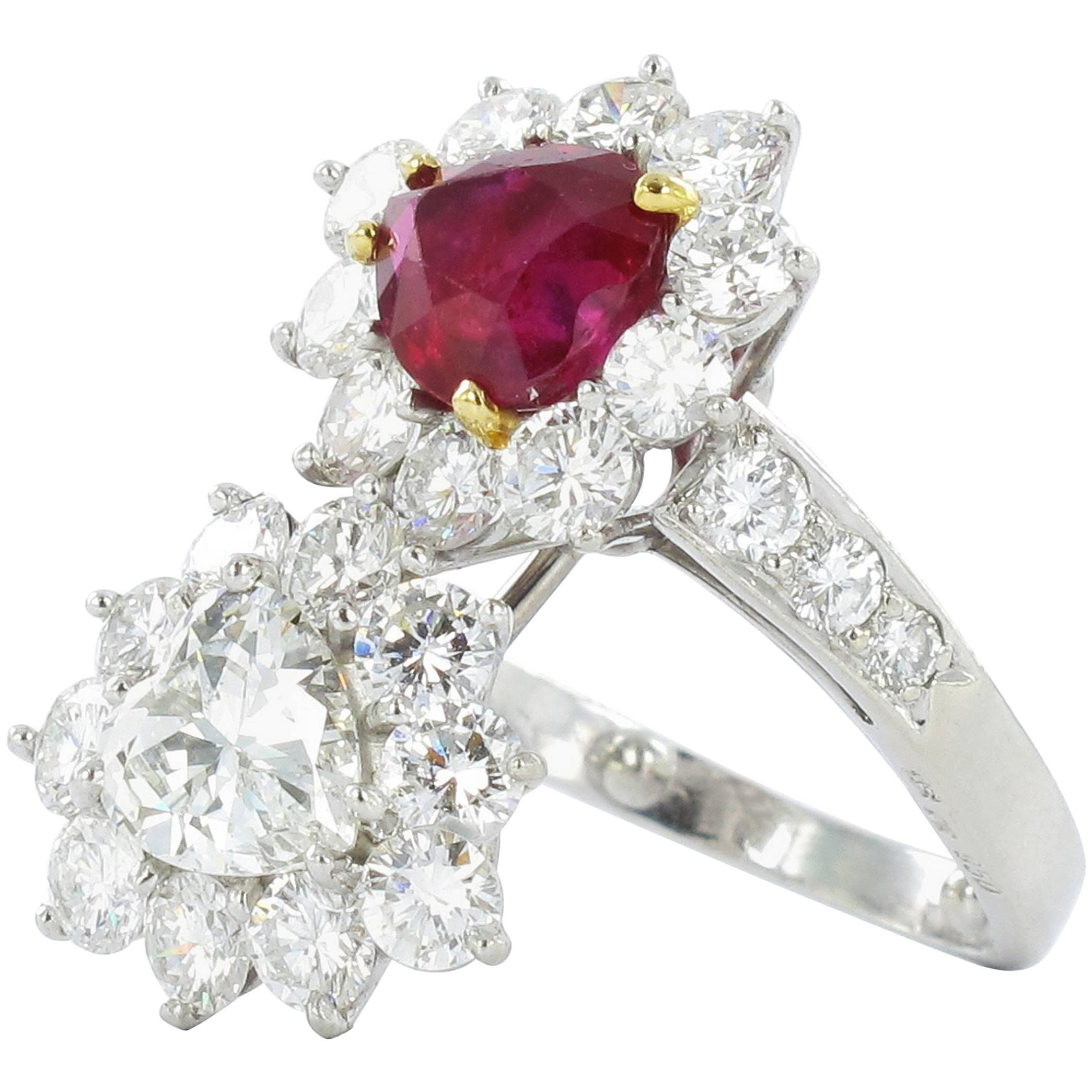 Gübelin Report Burma Ruby Diamond Toi et Moi Platinum Ring