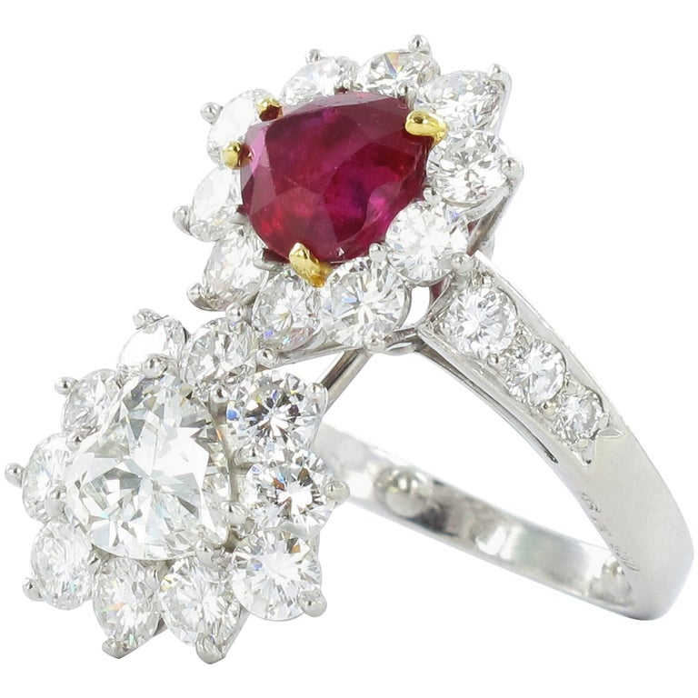 Gübelin Report Burma Ruby Diamond Toi et Moi Platinum Ring For Sale