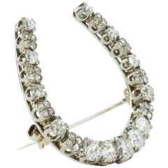 Diamond White Gold Horseshoe Brooch