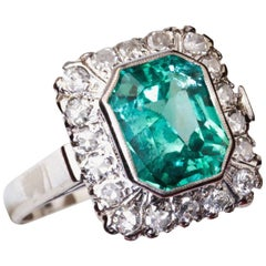 Square Emerald Diamond White Gold Cocktail Ring