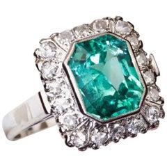 Square Emerald Diamond White Gold Cocktail Ring
