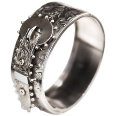 Victorian Sterling Silver Hinged Buckle Bangle Bracelet