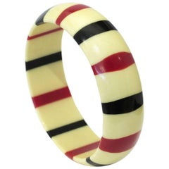 Vintage Red Navy and Ivory Striped Bakelite Bangle Bracelet