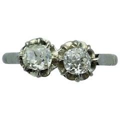 1900s French Antique Toi et Moi Diamond Gold Ring
