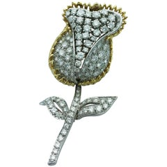 Diamond Platinum and Gold Tulip Brooch