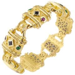 Millennial Greek Gold Emerald Ruby Sapphire Bracelet
