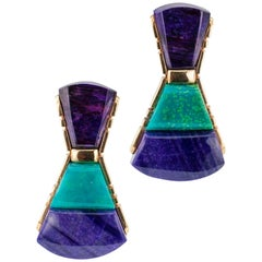 Chrysocola Sugilite Gold Earrings by Raoul Sosa