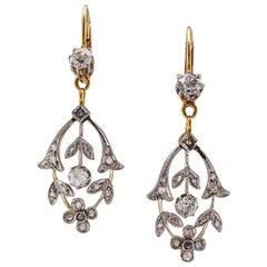 Edwardian 1910 Diamond Gold Platinum Pendent Earrings
