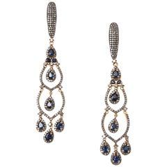 Blue Sapphire and Diamond Dangle Earrings