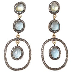 Faceted Apatite and Diamond Drop Earrings