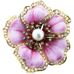 Extraordinary Antique Wild Rose Enamel Diamond and Pearl Brooch Pendant