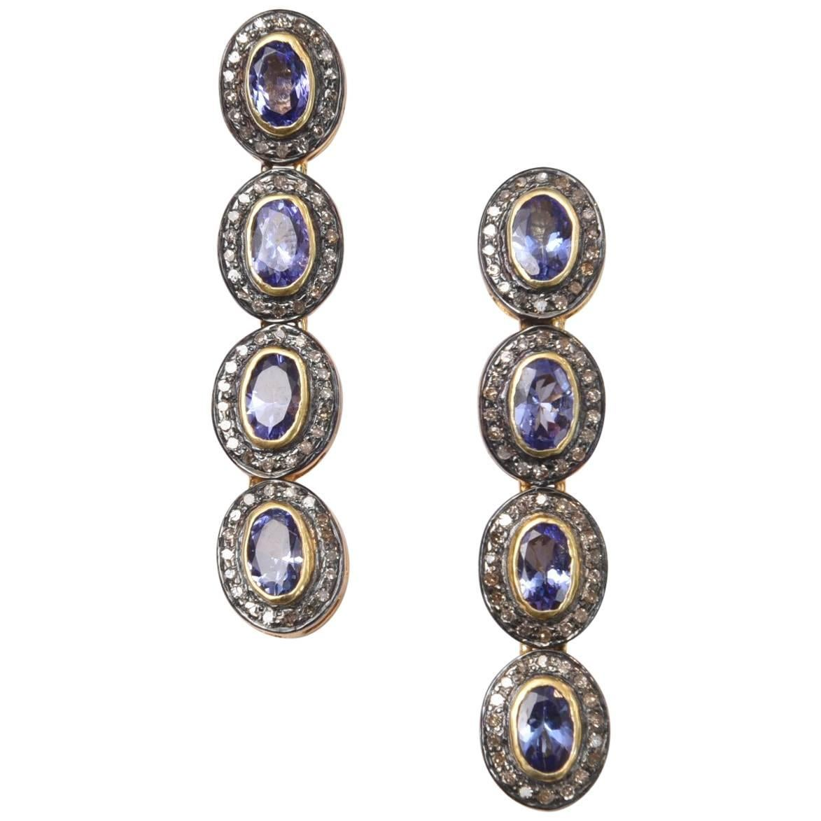 Faceted Tanzanite and Diamond Drop Earrings