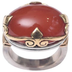 Large Cabochon Carnelian and Gold Dome Ring