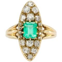 Edwardian 15 Karat Gold Emerald and Old Mine Cut Diamond Navette Ring