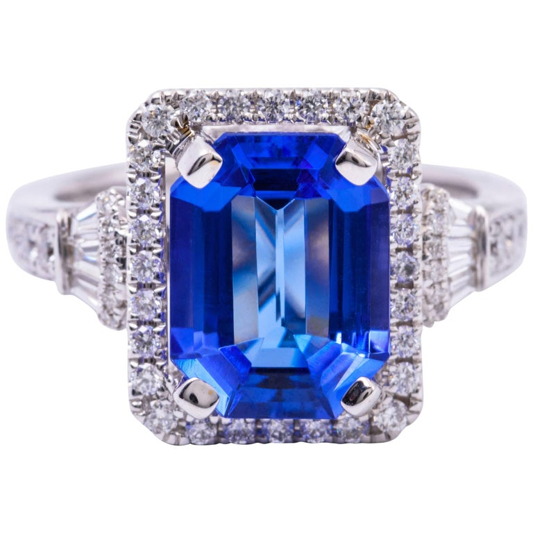 Diamond Rings For Sale Cheap: Emerald Cut Shape Tanzanite And Diamond Ring For Sale At