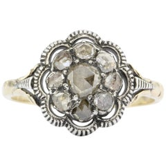 Antique  Rose Cut Diamond Floral Cluster Ring