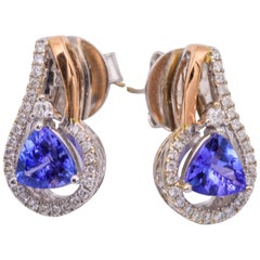 Trillion Tanzanite Two-Tone Gold Diamonds Earrings