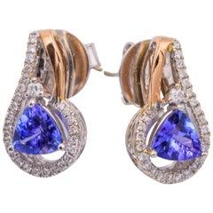 Trillion Tanzanite Two-Tone Gold Diamonds Earrings