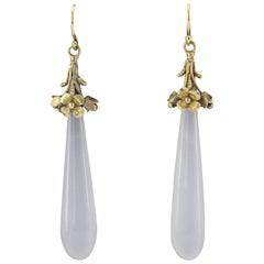 Victorian 15 Karat Gold White Chalcedony Drop Dangle Earrings, circa 1840s