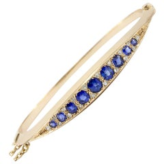 Victorian 15 Karat Gold Natural Sapphire and Old Mine Diamond Bangle Bracelet