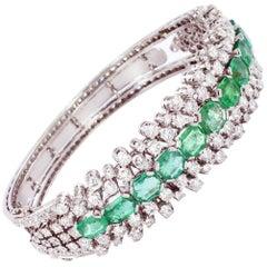 Emerald and Diamond Gold Bangle Bracelet