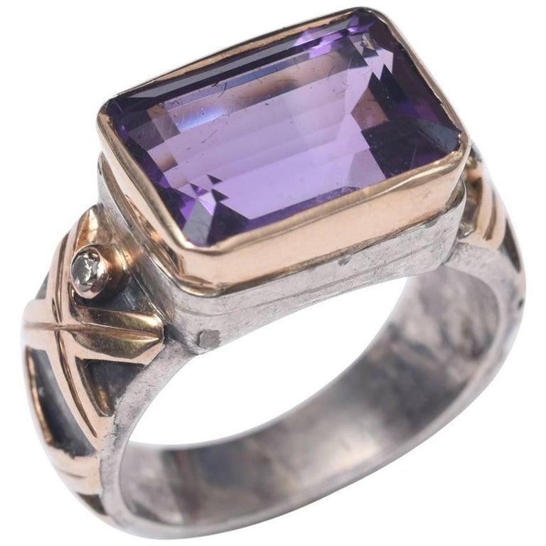Emerald Cut Amethyst and Diamond Gold Ring