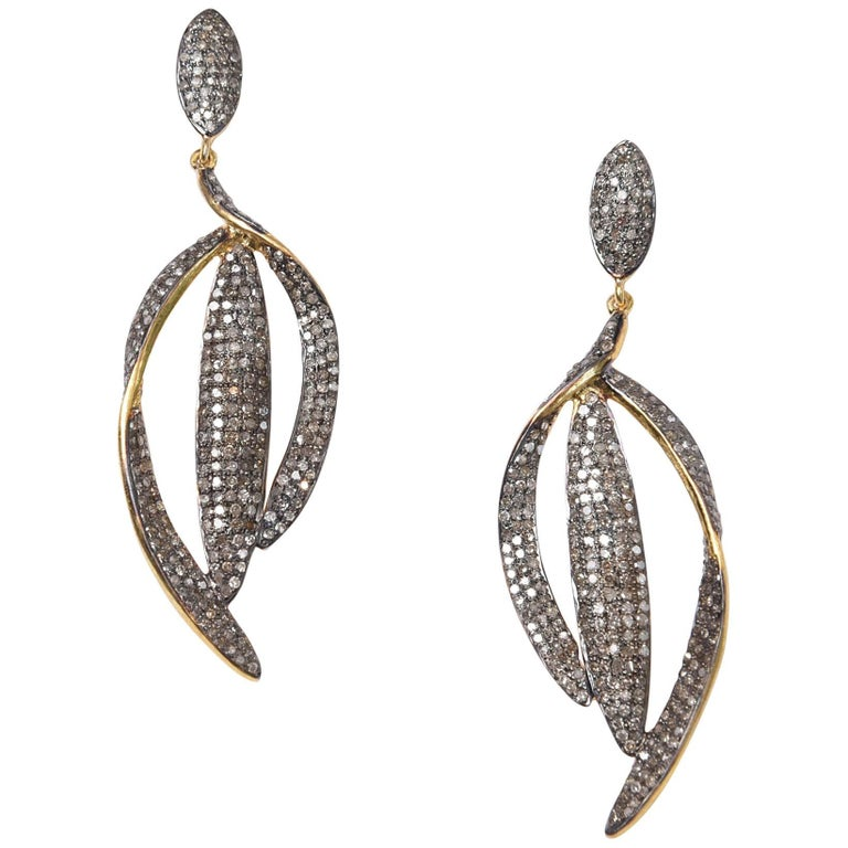 Pave Set Diamond Drop Earrings 1