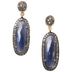 Rosecut Blue Sapphire and Diamond Earrings