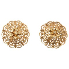 22 Karat Gold Domed Stud Earrings