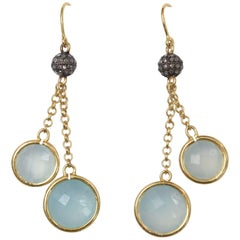 Double Drop Chalcedony and Diamond Earrings