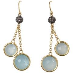 Double Drop Chalcedony and Diamond Earrings