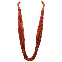 Multi-Strand Beaded Coral Necklace