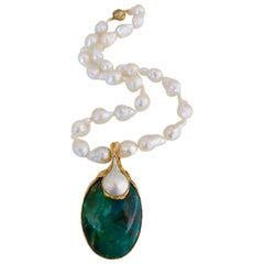 1970s Gilbert Albert Pearl and Azure-Malachite Necklace