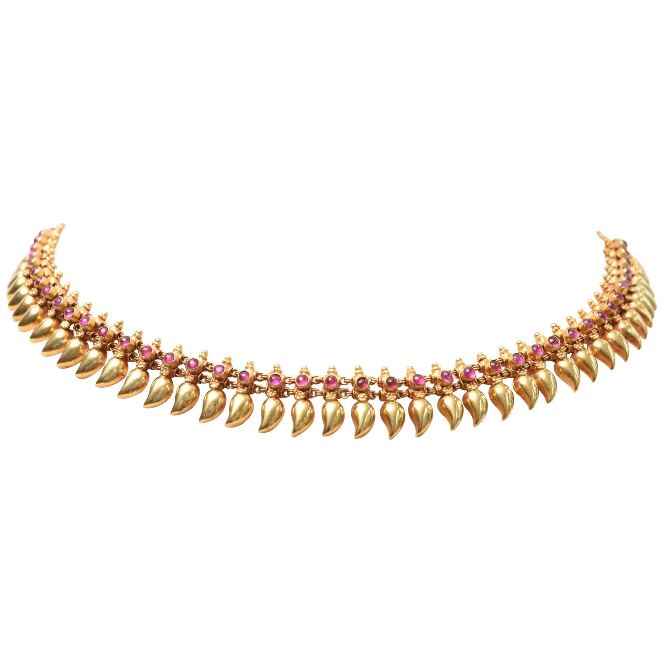 22 Karat Gold and Cabochon Ruby Necklace