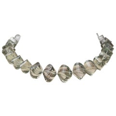 Cushion Cut Green Amethyst (Prasiolite) Beaded Necklace