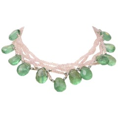 Flourite and Rose Quartz Beaded Necklace