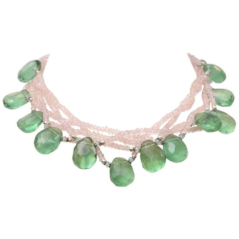 Flourite and Rose Quartz Beaded Necklace