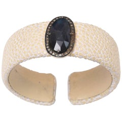 Labradorite and Diamond White Shagreen 'Sting Ray' Cuff Bracelet