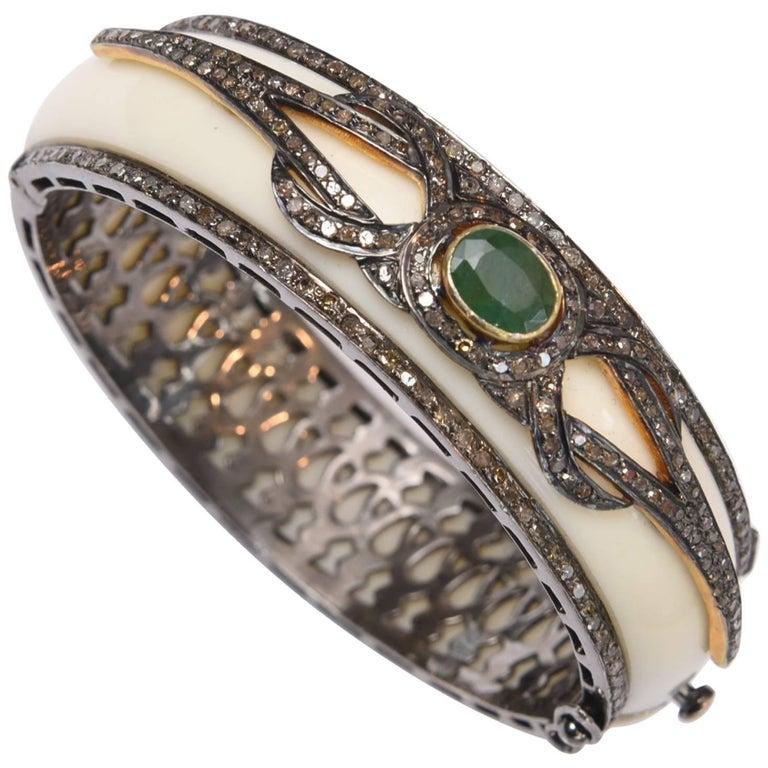 Diamond, Emerald and Bakelite Bracelet