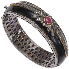 Bakelite, Diamond and Ruby Cuff Bracelet
