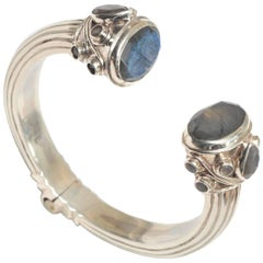 Labradorite and Sterling Silver Hinged Bracelet