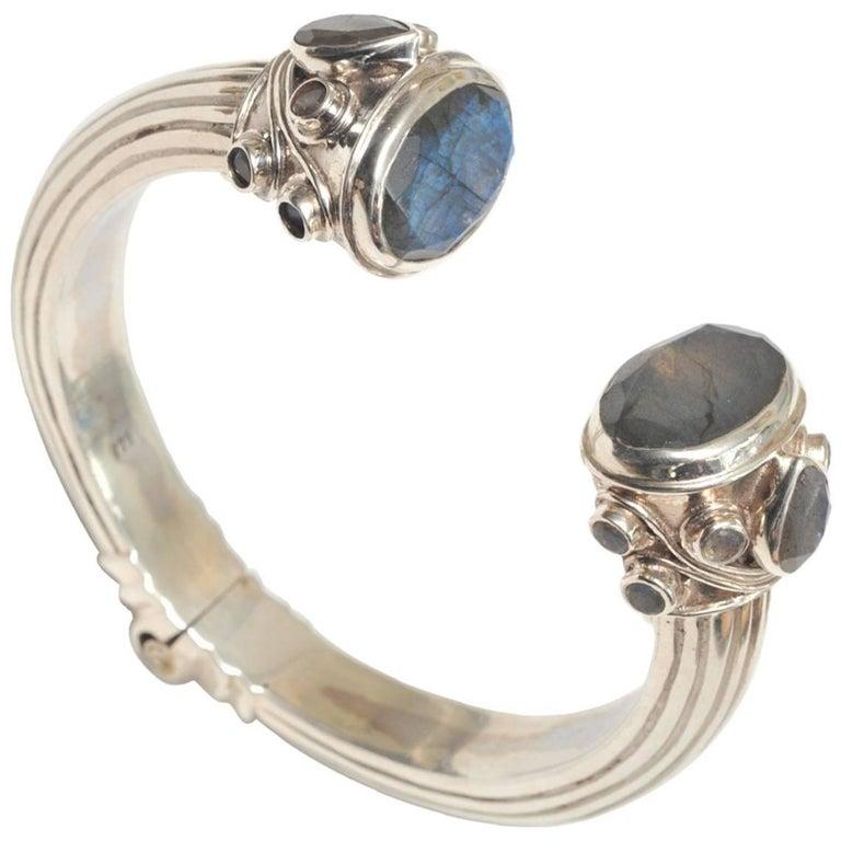 Labradorite and Sterling Silver Hinged Bracelet